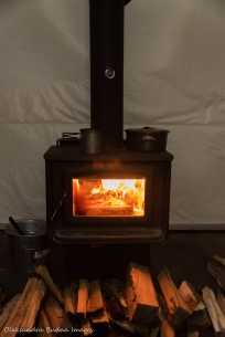 wood stove in yurt 5 in Silent Lake Provincial Park