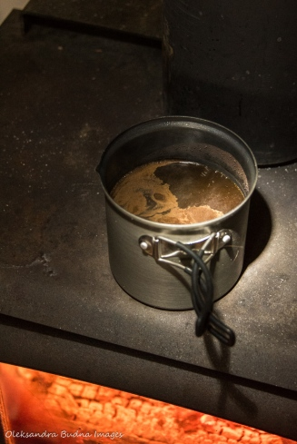 coffee on wood stove in yurt 5 in Silent Lake PP