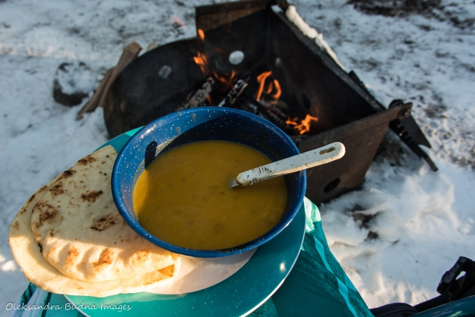 butternut squash soup and campfire