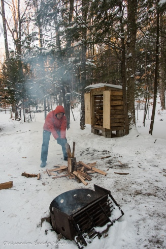 chopping wood at site 5 in Silent Lake PP
