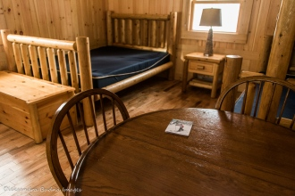 inside cabin 225 at Arrowhead provincial park in the winter