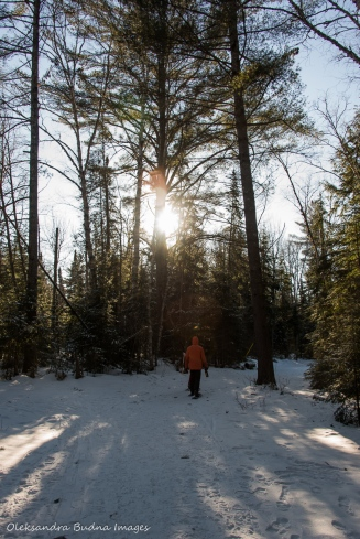 snowshoeing to Stubb's Falls in the winter