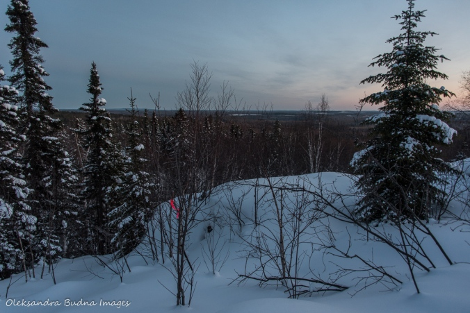 the view along the snowshoe trail to La Cigale rustic shelter in Parc National d'Aiguebelle