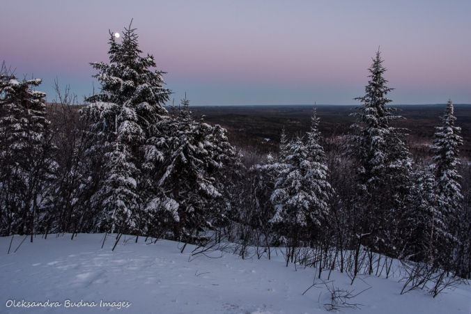 view at sunset from La Cigale rustic shelter in Parc National d'Aiguebelle