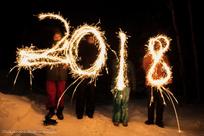 2018 written in sparklers