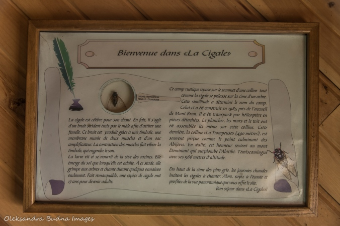 information panel in La Cigale rustic shelter in parc national d'aiguebelle