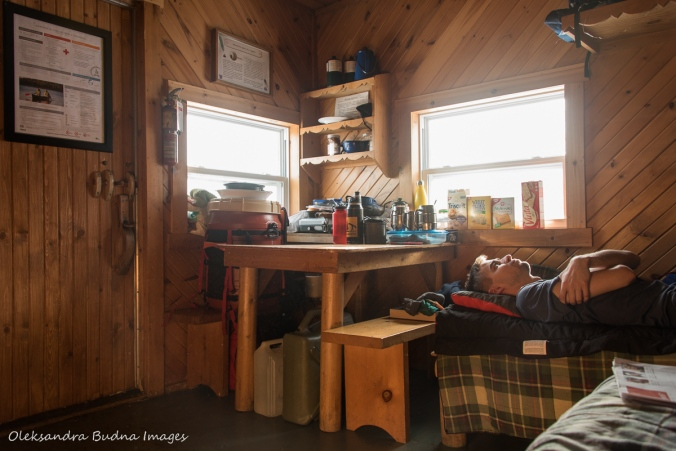 inside La Cigale Cabin in Parc National d'Aiguebelle