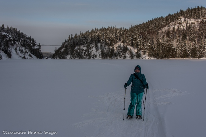 snowshoeing across Lac La Haie in Parc National d'Aiguebelle