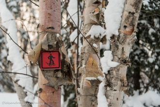 snowshoe trail sign at Parc National d'Aiguebelle