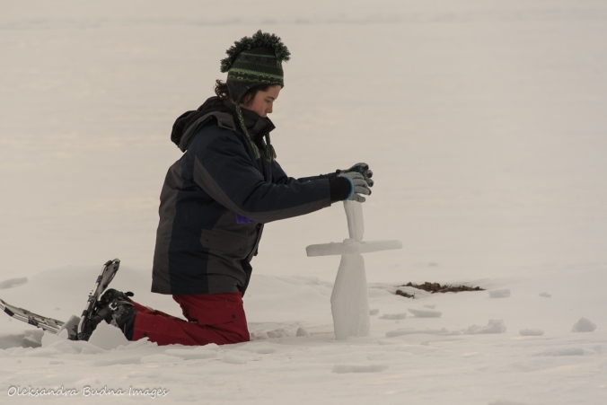 playing on frozen Windy Lake