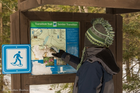 looking at the map of Transition Trail while snowshoeing at Windy Lake Provincial Park