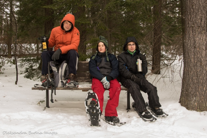 taking a break on Transition snowshoeing trail at Windy Lake Provincial Park