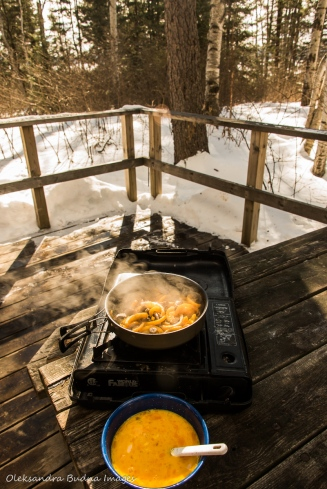 cooking breakfast outside at Windy Lake Provincial Park
