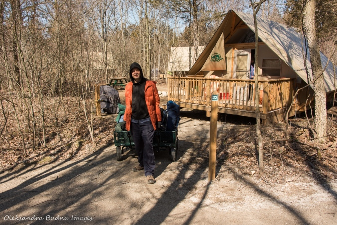 transporting gear at Poitn Pelee