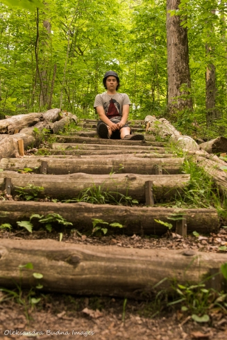 sitting on the stairs at Hockley Valley Nature Reserve