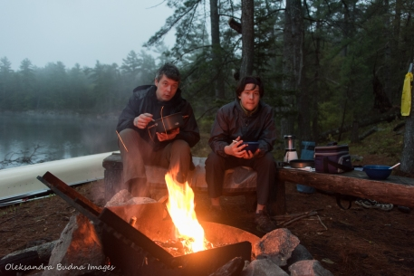 dinner around campfire at campsite 500 on Sparkler Lake in Kawartha Highlands