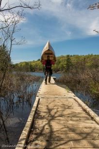 portaging in Loucks Lake in Kawartha Highlands