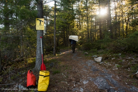 portaging from Cox to Sparkler in Kawartha Highlands