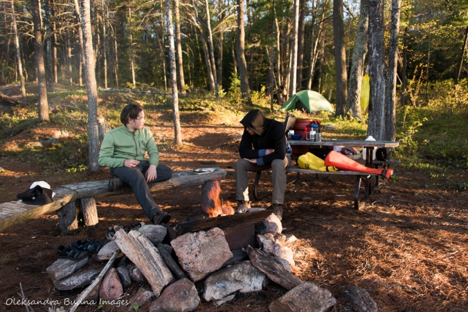 talking around the campfire in Kawartha Highlands