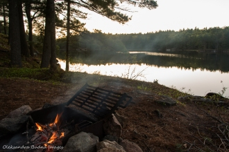 campfire on Sparkler lake in Kawartha highlands