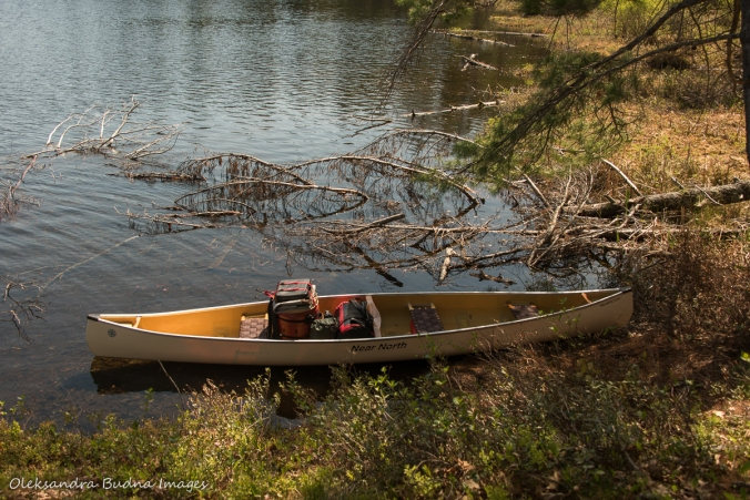 loaded canoe near campsite 500 in Kawartha Highlands