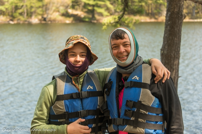 father and son in lifejackets