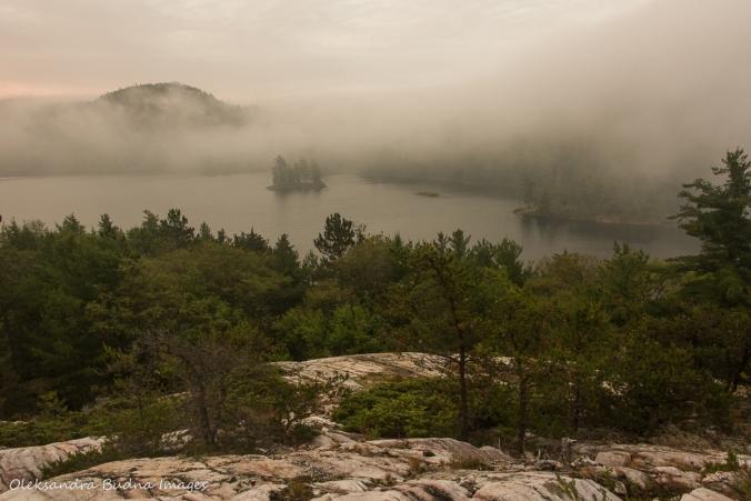 foggy morning on Grace Lake