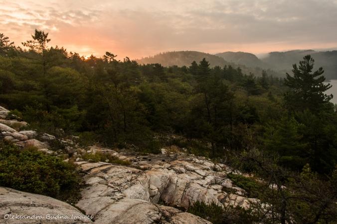 sunrise over La Cloche mountains near Grace Lake