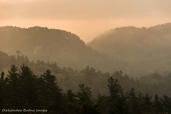 fog over La Cloche mountains near Grace Lake