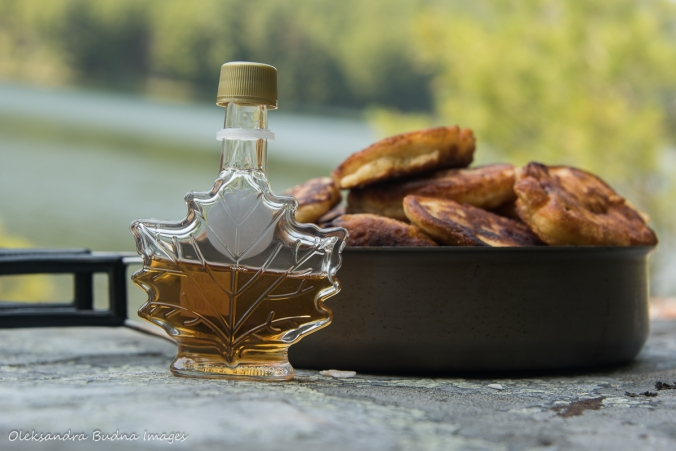 pancakes and maple syrup with Grace Lake in the background