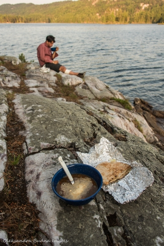 soup and grilled cheese sandwich on the rock at campsite 179 on Grace lake in Killarney
