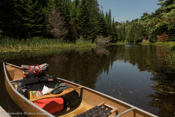 loaded canoe by the dock at Widgawa Lodge