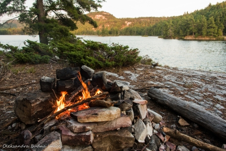 campfire on site 179 on Grace Lake in Killarney