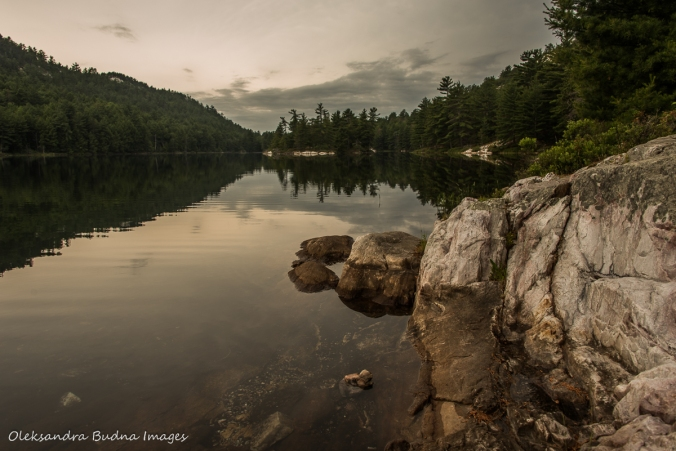 view of Grace Lake in Killarney from campsite 179