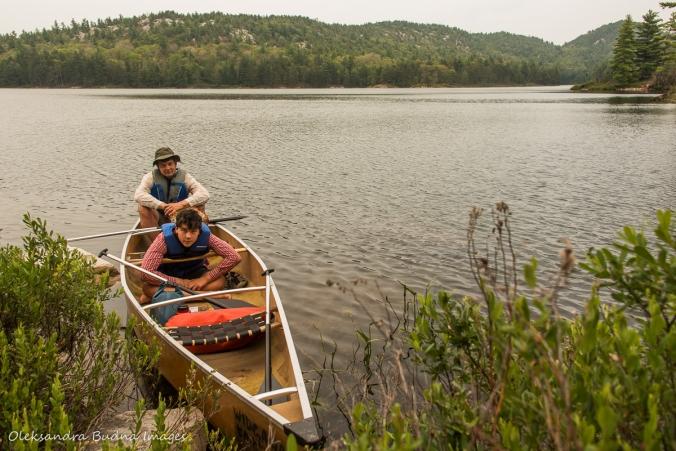 canoe on Grace Lake in Killarney