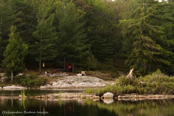view of campsite 179 on Grace Lake in Killarney