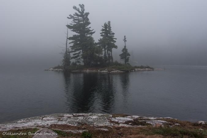 foggy morning on Grace Lake in Killarney