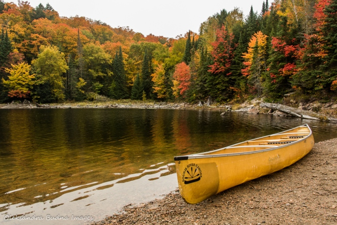 canoe at the put in on Rugged lake in Algonquin