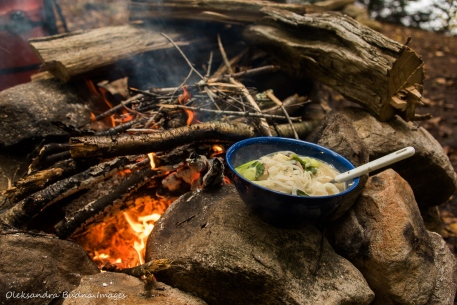 bowl of soup by the campfire