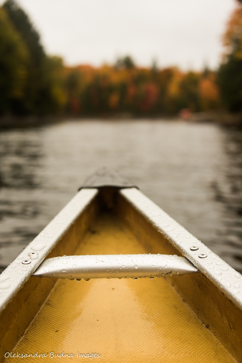 canoe on the lake in the fall