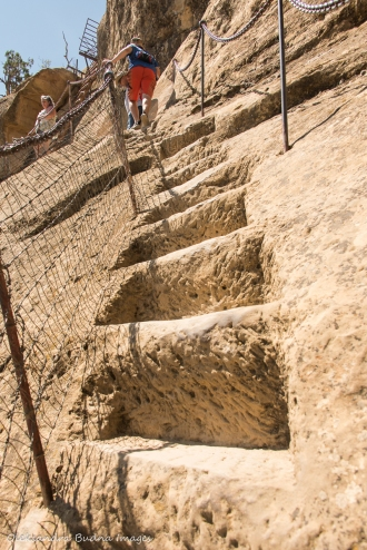 stone steps at Balcony House in Mesa Verde