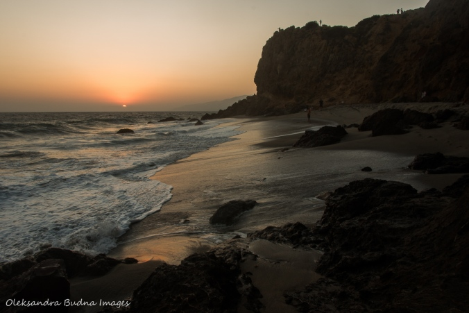 Point Dume beach at sunset