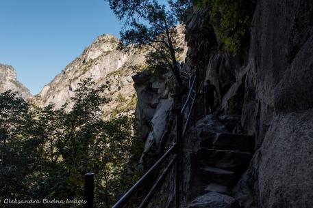 hiking the Half Dome trail in Yosemite
