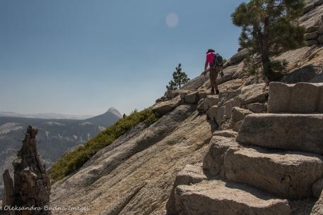 hiking Half Dome trail in Yosemite