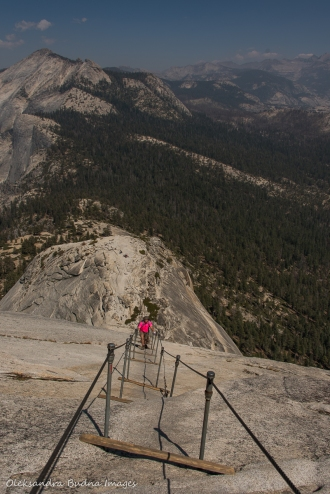 hiking the cables on Half Dome trail in Yosemite