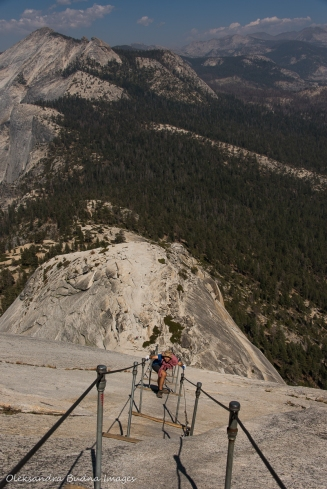 hiking the cable section of the Half Dome Trail