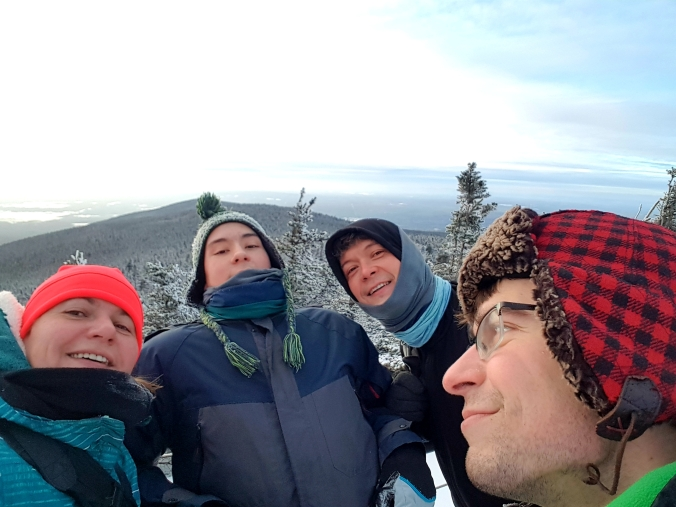 group selfie on top of Mont Mégantic in the winter