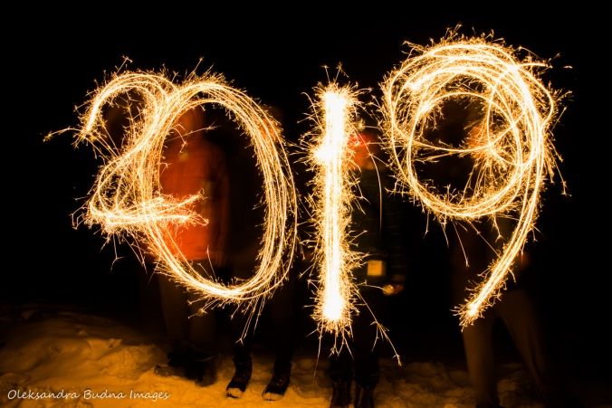 2019 written in sparklers