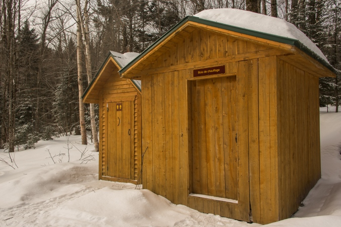 washroom and fire wood shed near Spica cabin at Parc national du Mont-Mégantic