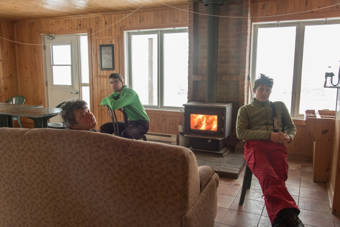 taking a break inside La Voie Lactée Refuge at Parc national du Mont-Mégantic in Quebec